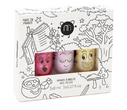 nailmatic® kids - water based nail polish 3 Pack - MAGIC FOREST (Pink Glitter/PearlPink/PearlYellow)